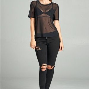 Tops - Black Sheer Mesh Top